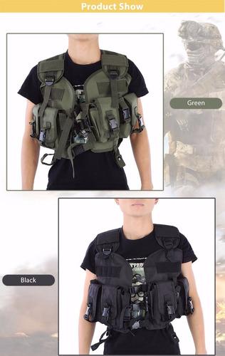 chaleco táctico militar airsoft caza camping escalada negro