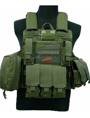 chaleco tactico militar  para airsoft paintball color verde