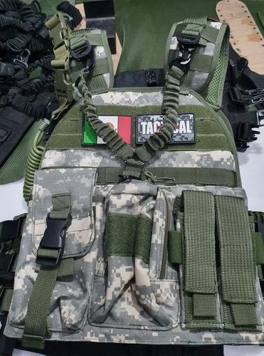 chaleco tactico porta placa nylon 1000d +accesorios + parche