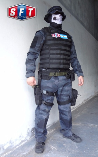 chaleco tactico porta placas elite - pro molle negro s f t®