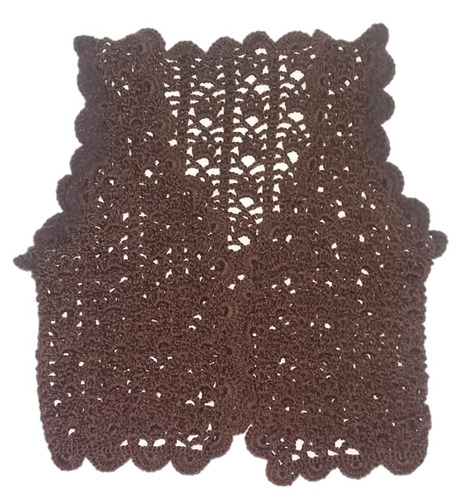 chaleco tejido a crochet cashmilon semigordo marrón chocolat