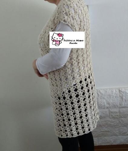 chaleco tipo kimono tejido a crochet hilo de algodon