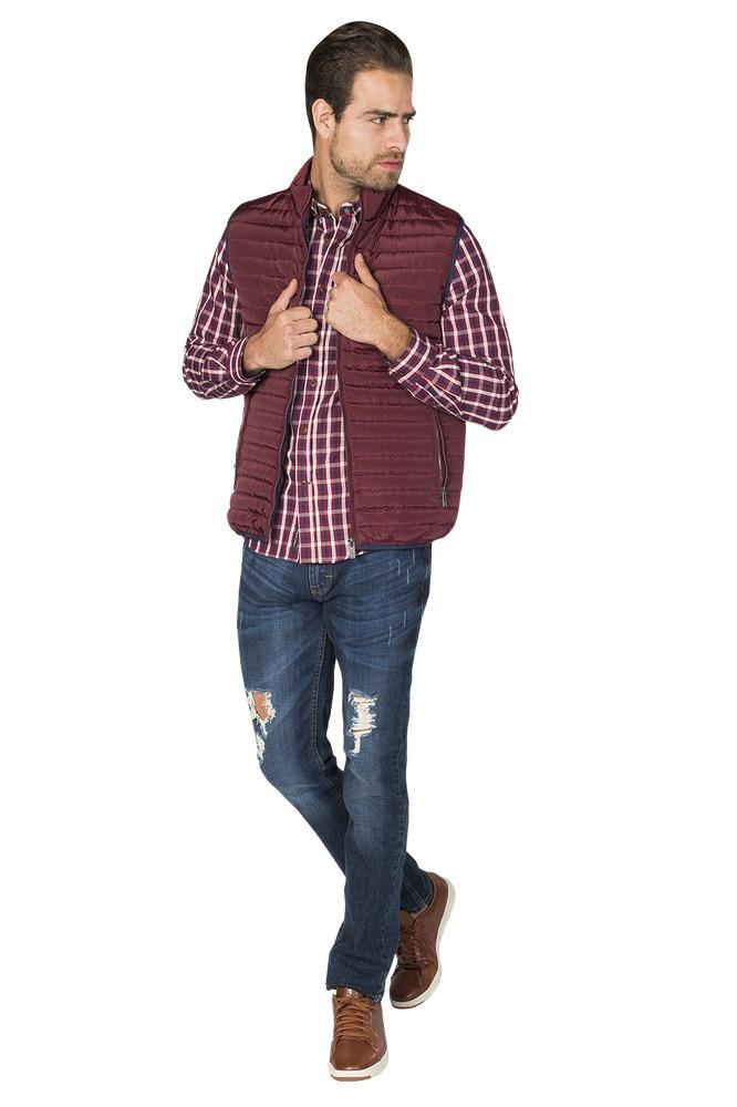 Chalecos Hombre Vestir Casual Slim Vino Moda Bobois