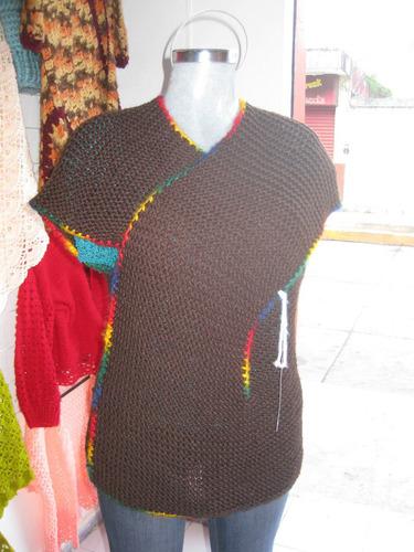 chalecos tejidos a mano en estambre varios colores y diseños