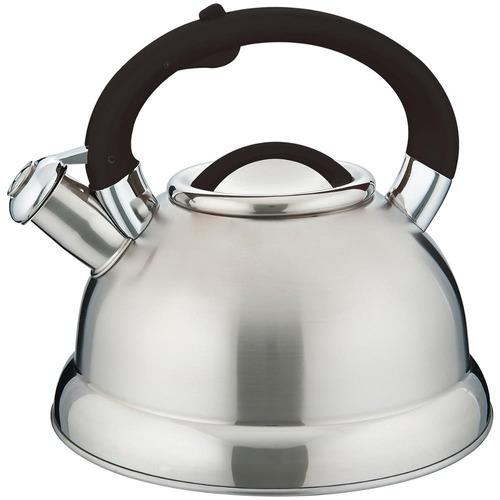 chaleira inox 3 l preta cozinha água diletta mor com apito
