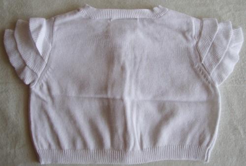 chalequito blanco 100 % algodon   crazy 8   t. 6 a 12 m.