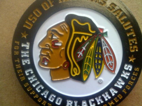 challenge coin moneda chicago blackhawks apoyo militar
