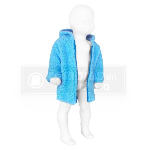 chamarra aborregada para bebé con gorrito diseño de oso azul
