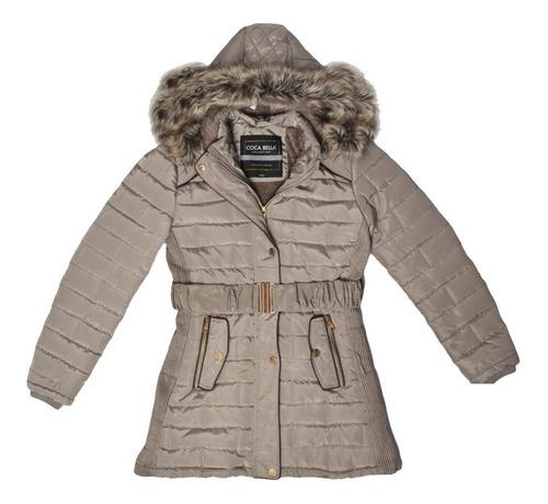 chamarra abrigo chaqueta gorro desmontable peluche mujer sha