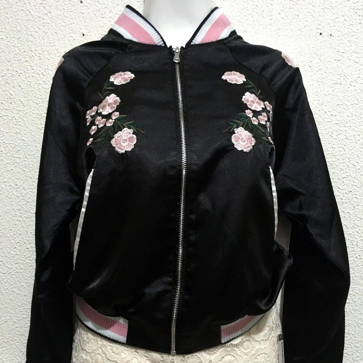 últimos lanzamientos suave y ligero nuevo baratas Chamarra Bomber Jacket Para Mujer Con Flores Bordadas