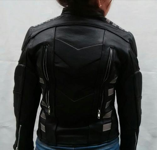 chamarra en piel de dama para moto