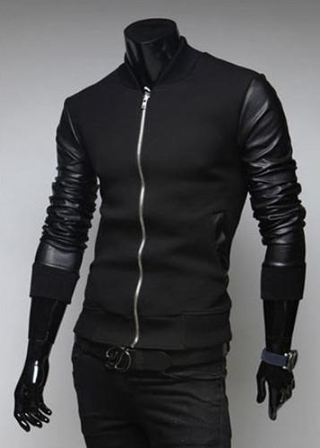 chamarra hombre mangas piel sintética estilo moda deportiva