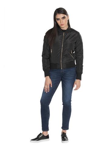 chamarra mujer bomber invierno ligera moda negro q83211