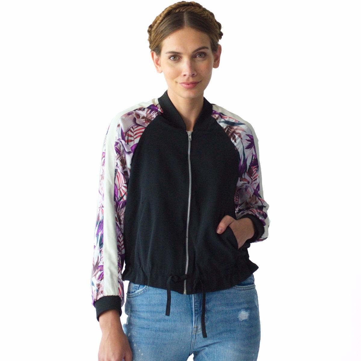 auténtico gran venta Garantía de calidad 100% Chamarra Mujer Bomber Jacket Rack & Pack Negra Con Estampado
