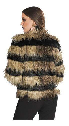 chamarra mujer moda moderno peluche fiesta negro q83210