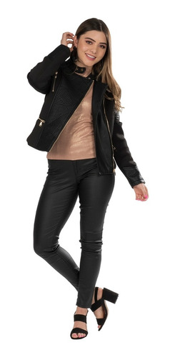 chamarra mujer piel sintetica chaqueta moda invierno dama