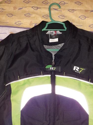 chamarra para moto r7 negra con verde