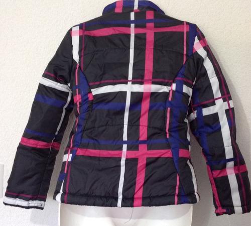 chamarra para niña talla 10-12 negro, rosa, blanco poliester