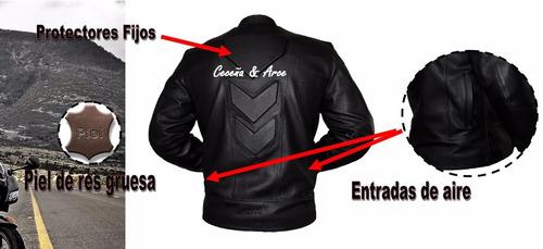 chamarra piel profesional motociclistas protecciones cs13