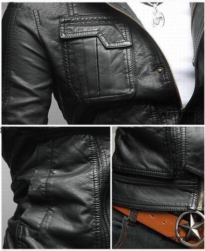 chamarra rockera piel sintética afelpada slim fit moda biker