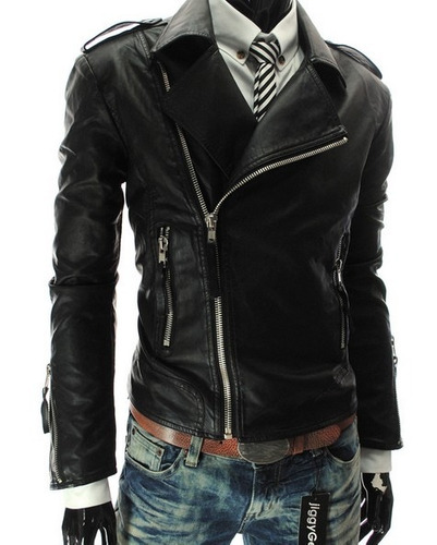 chamarra rockera piel sintética cierre de lado moda rockstar
