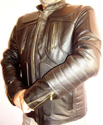chamarra seguridad motociclismo en piel con protecciones
