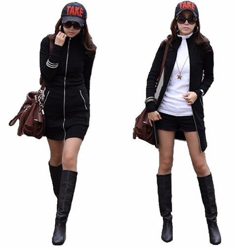 chamarra sudadera larga mujer sexy casual moda japonesa