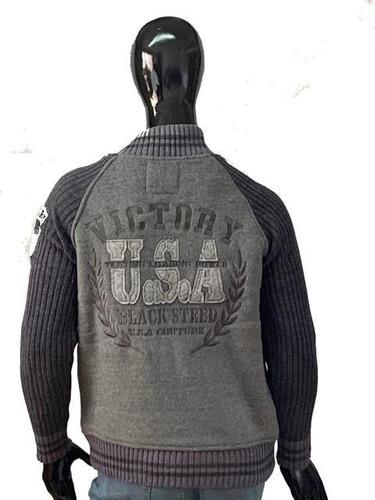 chamarra sweater bicolor cardigan marca black street