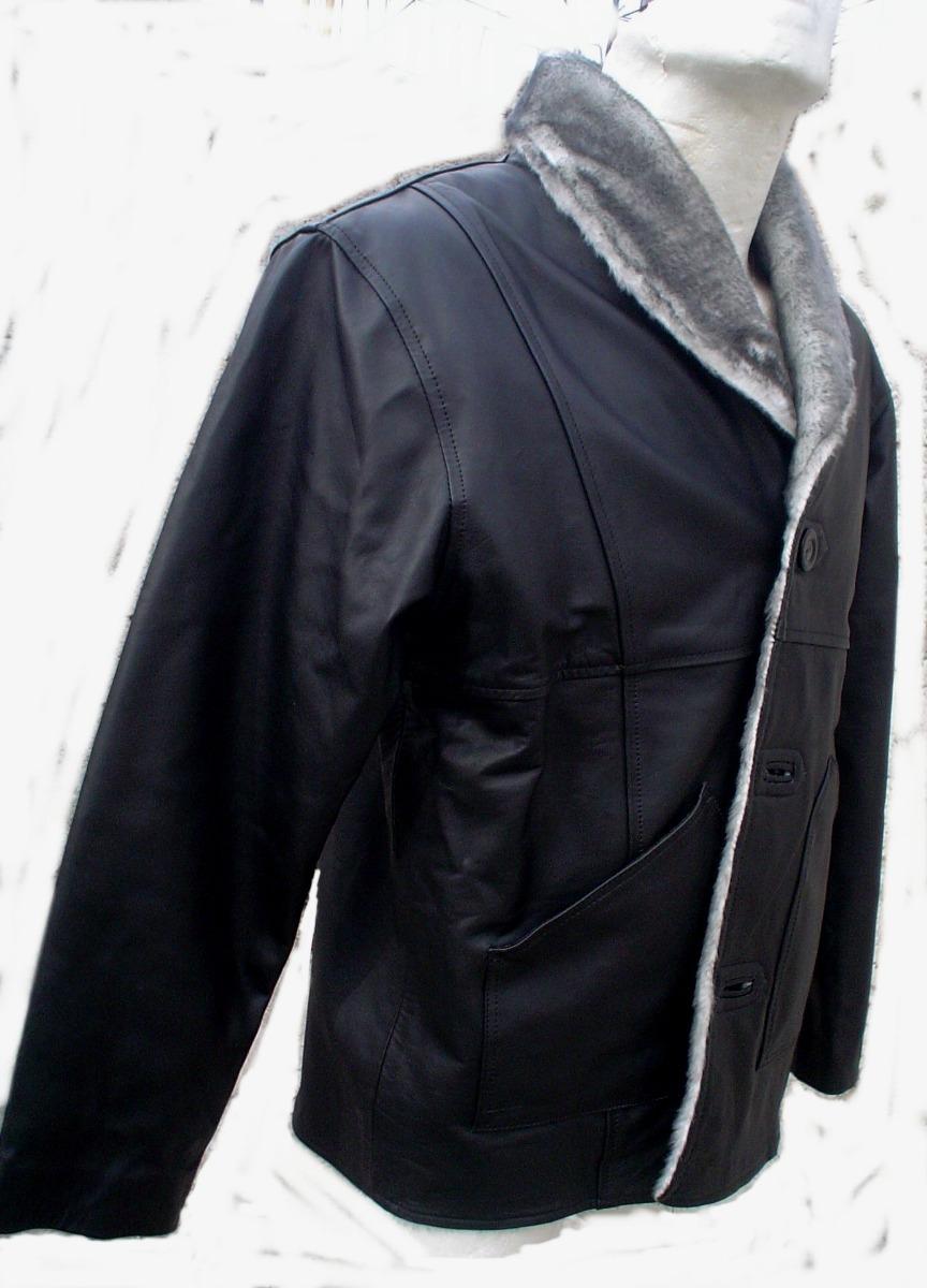 Borrego Peluche Tipo Interior Chamarra Cazadora Negra Piel CP4Zvxwqt