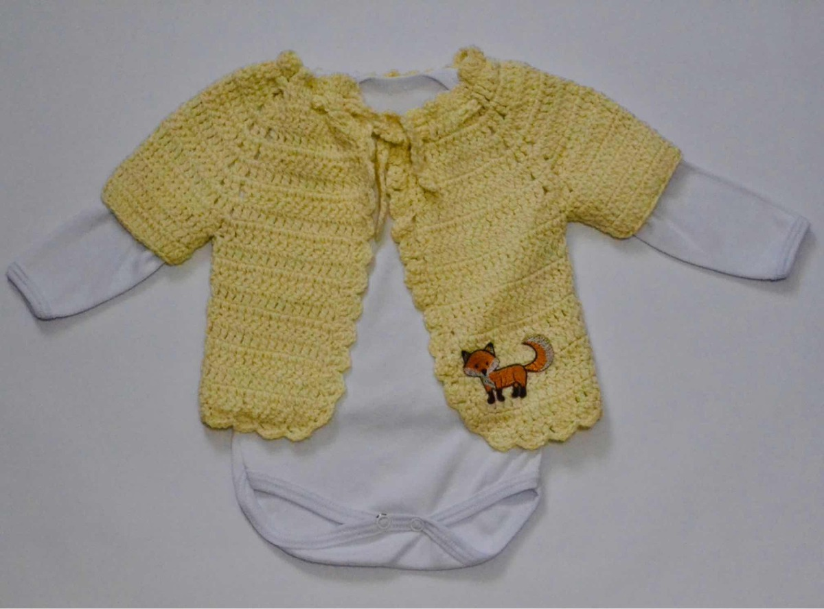 23b30e4c828bd chambrita tejida para bebé manga 3 4 con detalle de zorro. Cargando zoom.