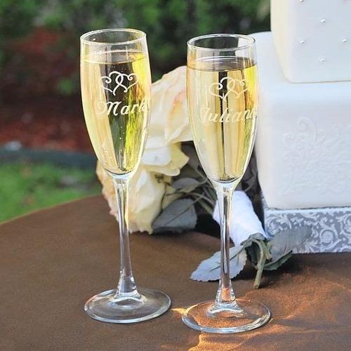 Dos copas champagne cristal grabado en caja boda for Copas para champagne