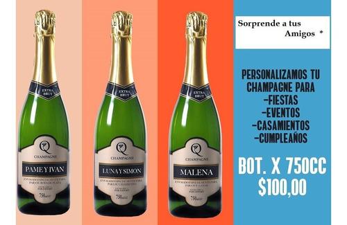 champagne personalizado para eventos x 750 cc