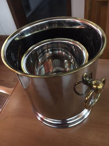 champagnera y hielera acero inox y bronce