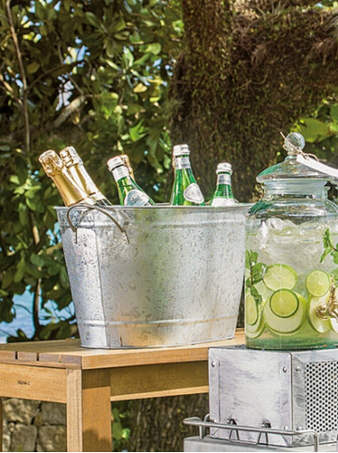 champanheira, com alças, em chapa de zinco dobrada