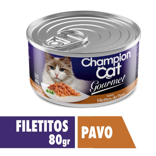 champion cat gourmet filetitos de pavo 24x80 g
