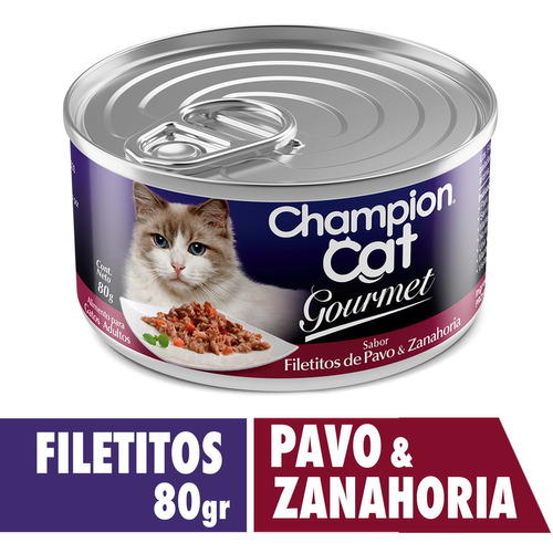 champion cat gourmet filetitos de pa&za 24x80 g