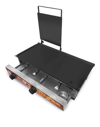chapa de lanches sanduicheira mr 60x30 com kit para chapa
