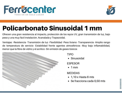 chapa de policarbonato acanalada 1 mm x 3 mts x 1,10 mts