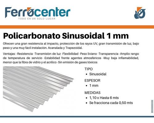 chapa de policarbonato acanalada 1 mm x 6 mts x 1,10 mts