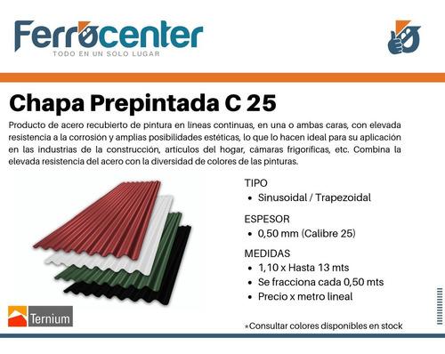 chapa de techo color sinusoidal o trapezoidal - c25