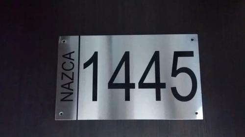 chapa dirección frente casa numeración aluminio alucobond