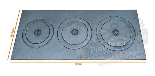 chapa fogão lenha 70x30 ferro fundido mod. redução 3 furos