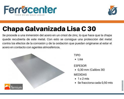 chapa galvanizada lisa c30 (0,30 mm) 1 x 2 mts
