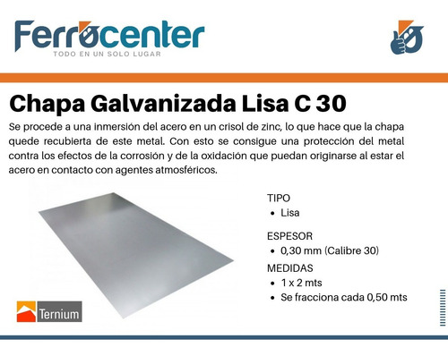 chapa galvanizada lisa c30 (0,30 mm) 1 x 2 mts.