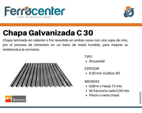 chapa galvanizada sinusoidal c30 de 0,89 x mt. oferta!!!