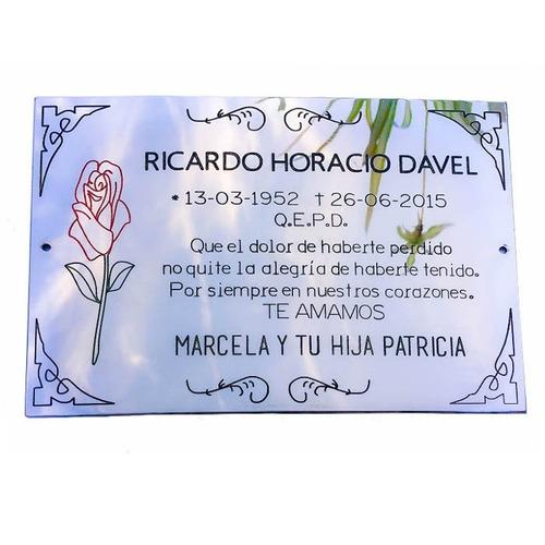 chapa grabada mortuoria,cementerio, nicho, lapida, 15x8 cm.