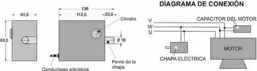 chapa o traba electrica de piso para porton abatible automat