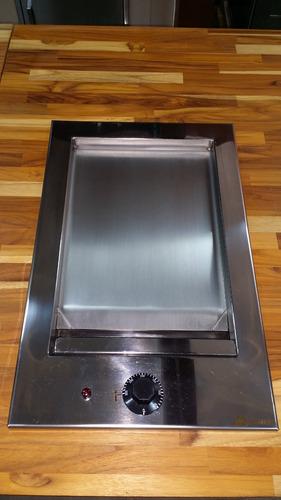 chapa para lanches elétrica 110v inox p/ embutir 32x50