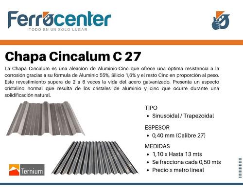 chapa para techo acanalada o sinusoidal c27 cincalum