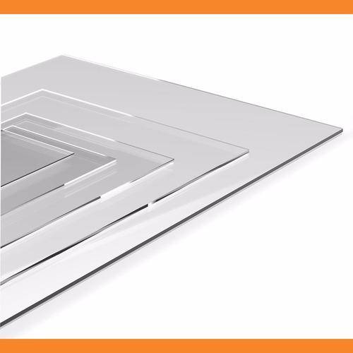 chapa placa de acrílico transparente 50 cm x 50 cm x 15mm